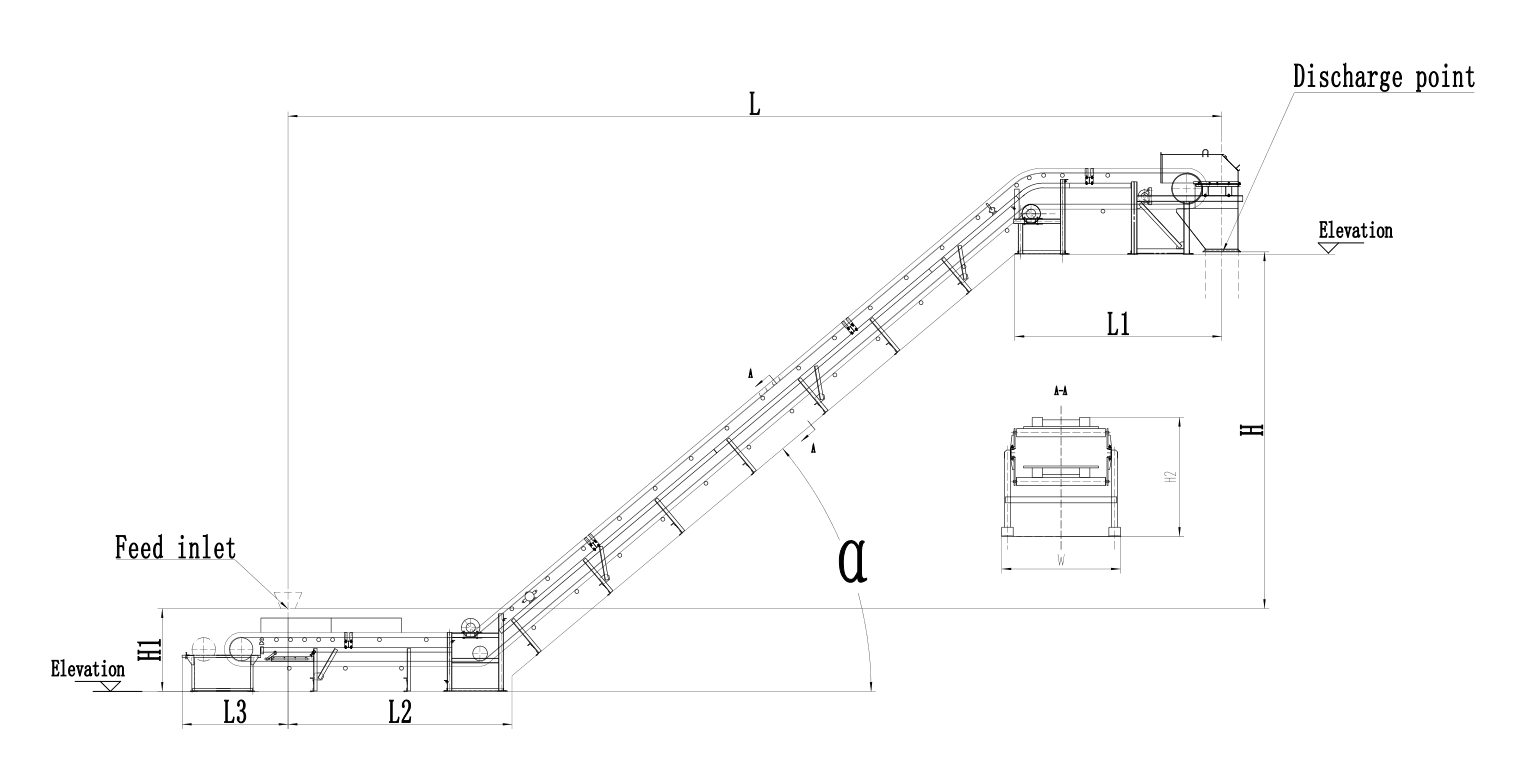 corrugated sidewall belt conveyor drawing